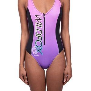 Wildfox Maui Purple Zipper One Pice Swimsuit